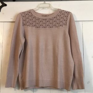 Ann Taylor Loft Sweater with Floral Lace Detail
